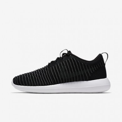 Nike roshe two flyknit para hombre negro/blanco/voltio/gris oscuro_690