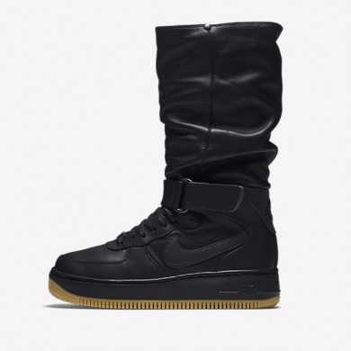 Nike air force 1 upstep warrior para mujer negro/marrón claro goma/hematita metálico/negro_373